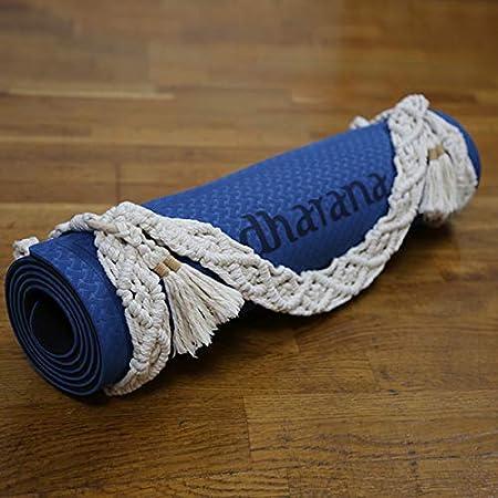 Dharana Esterilla Yoga Mat Antideslizante Profesional- Colchoneta Gruesa para Deportes Gimnasia Pilates Fitness Ecol/ógica Accesorio Correa Tejida de Macram/é para Trasportar