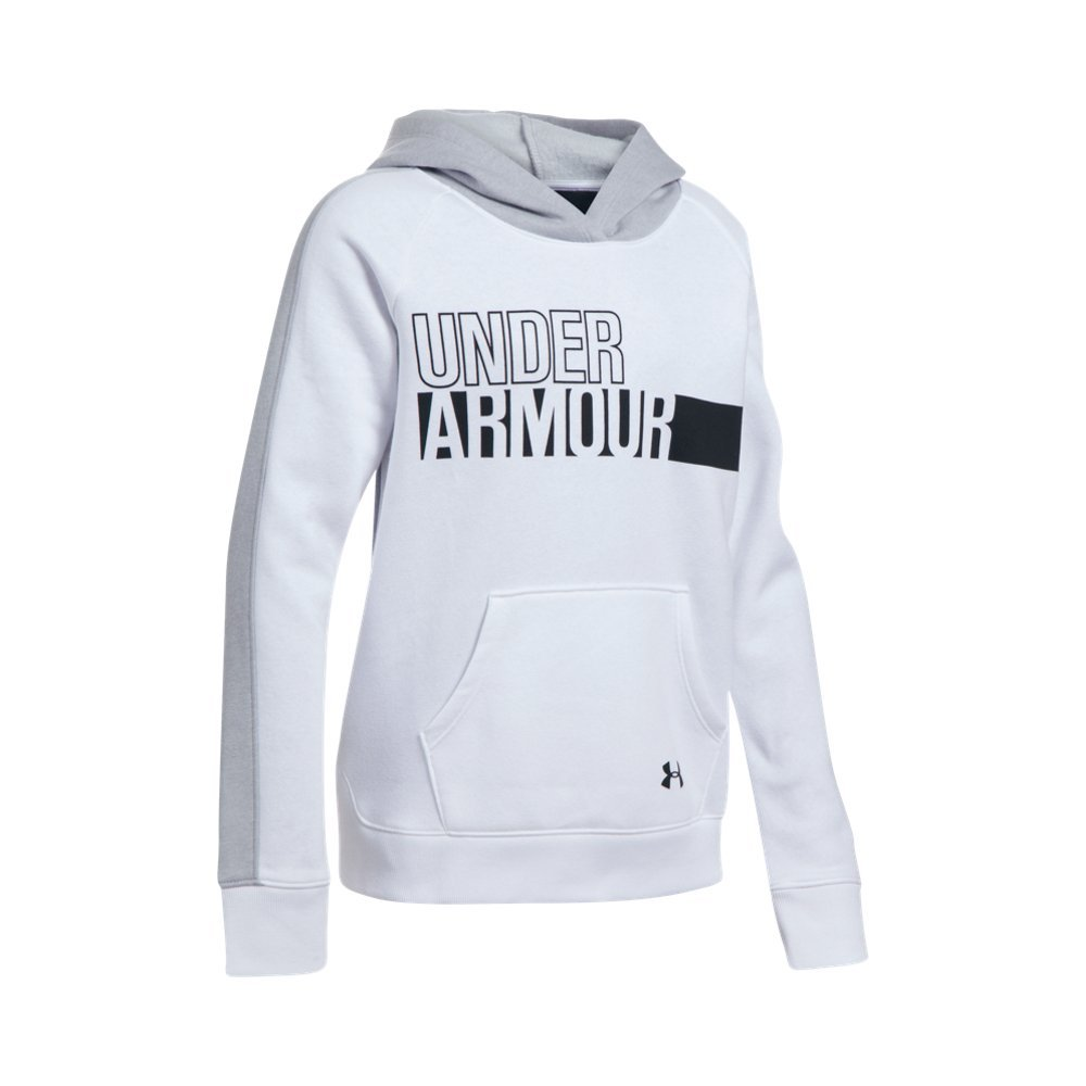 Under Armour Girls' Favorite Fleece Hoodie,White (100)/Black, Youth X-Small