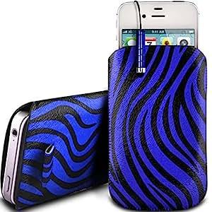 Online-Gadgets UK - LG Nexus 4 E960 protección PU Zebra Diseño deslizamiento cordón tirador de la cremallera en la caja de la bolsa con cierre rápido y Mini Stylus Pen - Azul