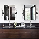 """vanity mirrors for bathroom  Large Modern and Simple Bathroom Wall-Mounted Black Framed Mirror Horizontal or Vertical Hangs for Home/Hotel (38"""" x26"""",Black) ..."""