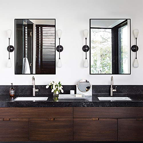 Kingmond Large Modern and Simple Bathroom Wall-Mounted Black Framed Mirror Horizontal or - Mirrors Bathroom Modern