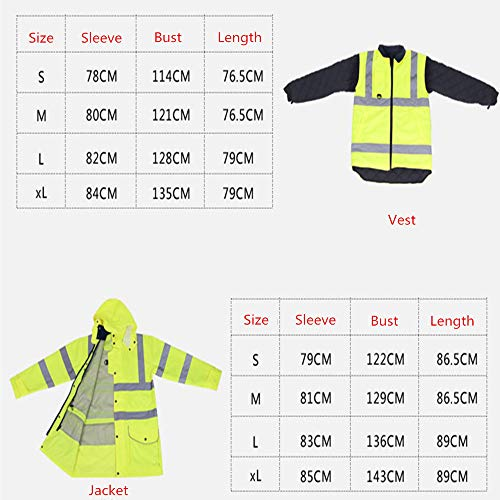 GSHWJS- trash can Reflective Cotton Coat High Speed Traffic Warning Duty Safety Jacket, Green Reflective Vests (Size : M) by GSHWJS- trash can (Image #8)
