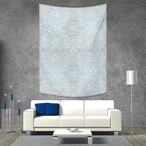 smallbeefly Floral Wall Hanging Tapestries Ornamental Swirled Flower Lines Abstract Victorian Retro Curves Rococo Print Large tablecloths 70W x 93L INCH Pale Blue White - Nancy Floral Wall Hanging