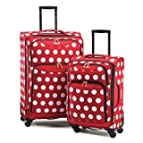 American Tourister Disney Minnie Mouse 2 Piece Set 21 & 28 Softside Spinner Disney Minnie Mouse Polka Dot For Sale