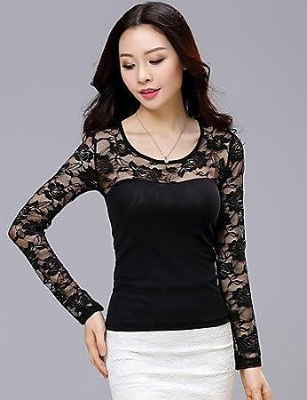 Mujer Camisa Blusa elegante mujer Blusa Mujer Camiseta de mujer Blusa – bordado/rejilla Nylon manga larga cuello redondo, color Negro - negro, tamaño L: Amazon.es: Deportes y aire libre