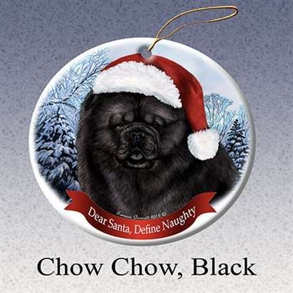 Holiday Pet Gifts Chow Chow Black Santa Hat Dog Porcelain Christmas Tree Ornament - Chow Christmas Ornament