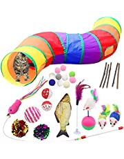 Kattleksakstunnel set 28 delar med kattmynta fisk, bollar, fjäderleksak, bollar, klockor, leksaksmöss diverse-kattleksak medföljer förvaringspåse lämplig för valpar kattungar