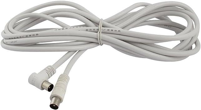 SODIAL (R) PAL macho a macho TV plomo blindado cable coaxial de antena 5 M 16.4 Ft Blanco
