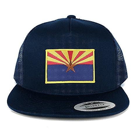 FLEXFIT 5 Panel Arizona Home State Flag Embroidered Patch Snapback Mesh Trucker Cap - NAVY (Desert Arizona Flag Patch)