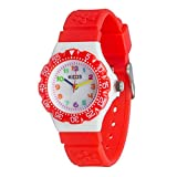 KIDDS Kids Watches, Wrist Watch for Little Girls, Beautiful & Adorable Learning Watch, Innovative Easy–to–Read Design with Japanese Movement & Sony Battery, Gift for Little Girls, (Red)