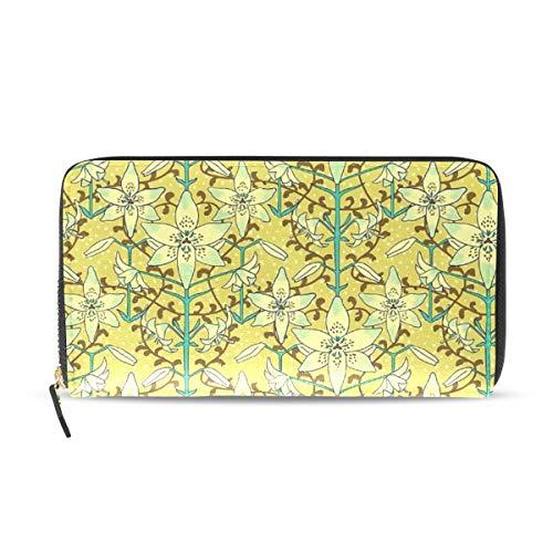 Womens Art Nouveau Lilies Pale Yellow And Aqua Long Wallet & Purse Case Card - Window Lily Windows Nouveau