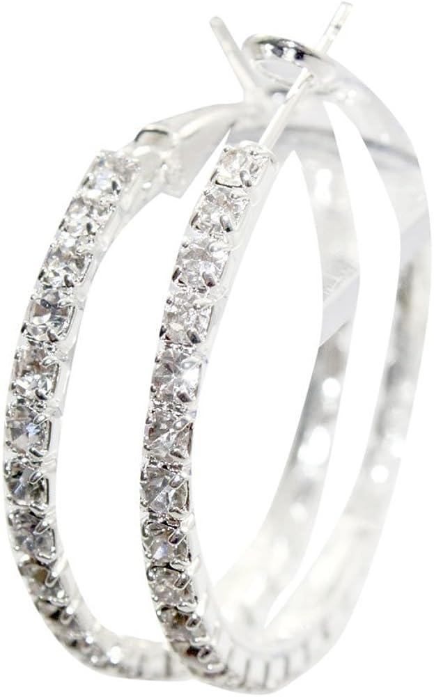 Zehui Pendientes de aro con cristales de Swarovski, diámetro de 4 cm