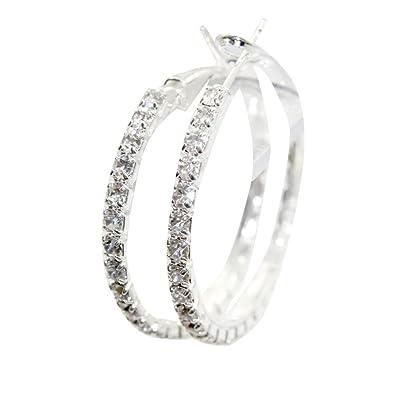 Zehui Clear Rhinestone Round Crystal Swarovski Earring Hoop Circle Silver Dia 4cm vj5v1I9gA