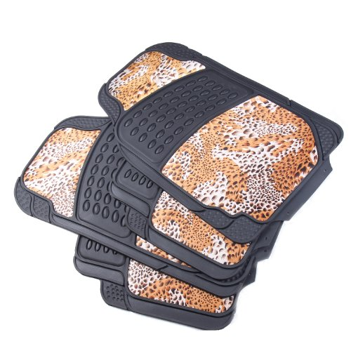 Adeco 4-Piece Car Vehicle Universal Floor Mats, Black All-Weather Rubber, with Leopard Print Dacron Surface