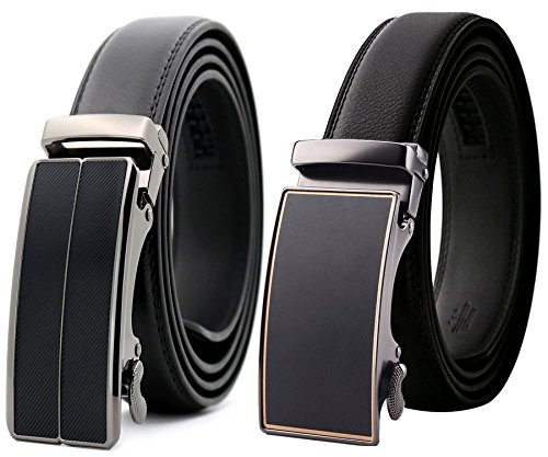 Alderman Men Belt-Leather Ratchet Belt for Men with Slide Buckle 1 3/8 Trim to Fit