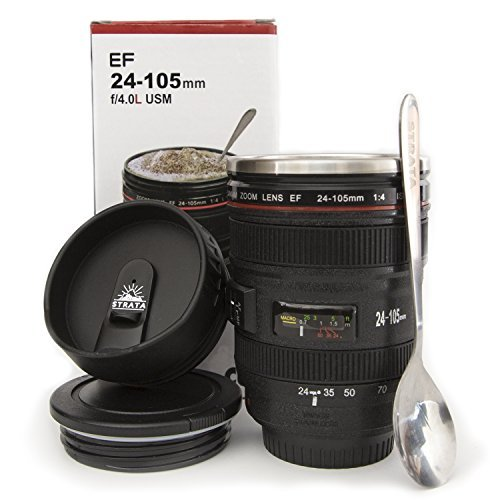 Review STRATA CUPS Camera Lens Coffee Mug -13.5oz, SUPER BUNDLE! (2 LIDS + SPOON) Stainless Steel Thermos, Sealed & Retractable Lids! Photographer Camera Mug, Travel Coffee Cup, Coffee Mugs for Men, Women
