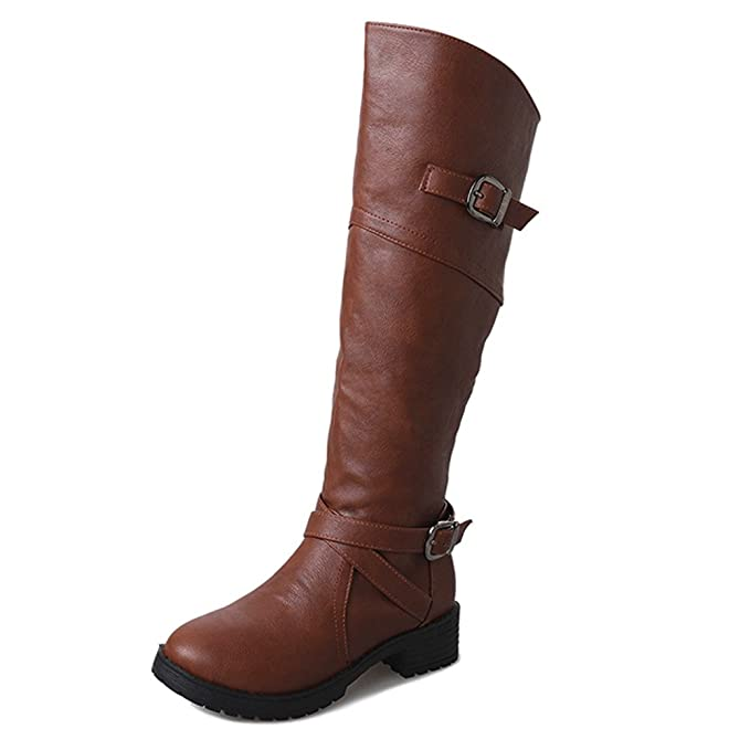 ❤ Botas de Tubo Altas para Mujer,Las Mujeres de Cuero de la Hebilla del Caballero de Las señoras Botas de imitación Plana Zapatos Absolute: Amazon.es: ...