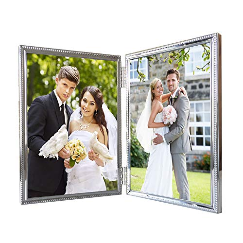 - Double Picture Frames 4x6 Metal Hinged Photo Frame for 2 Photos Vertical Dual Openings Portrait Landscape Tabletop Decorative, Anniversary Gift for Wonan Friends Wedding Presents, 6 by 4 Inch Silver