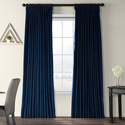 Half Price Drapes VPCH-VET1215-84 Signature Doublewide Blackout Velvet Curtain, Midnight Blue, 100 X 84]()