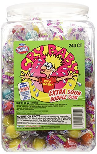 Tub Sour (Cry Baby Extra Sour Bubble Gum 240ct. Tub, 38oz)