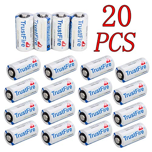 Trustfire 20 Pack CR123A Battery 3V Lithium CR123 Non-Rechargeable Batteries for Polaroid, Flashlight, Microphones and More, NOT Fit Arlo Camera …