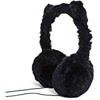 Fuzzy Furry Headphones With Kitty Cat Ears Black