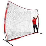 PowerNet Portable Barrier Net 12 ft x 9 ft for Baseball and Lacrosse | 108 SQFT of Protection | Safety Backstop w/Bow Style Frame | Portable EZ Setup | Train Anywhere | Durable Base, Poles & Netting