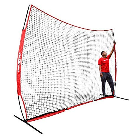 PowerNet Sports Barrier Net 12 ft x 9 ft | 108 SqFt of Protection | Safety Backstop w/Bow Style Frame | Portable EZ Setup Barricade for Baseball, Lacrosse, Basketball, Soccer, Field Hockey, Softball – DiZiSports Store