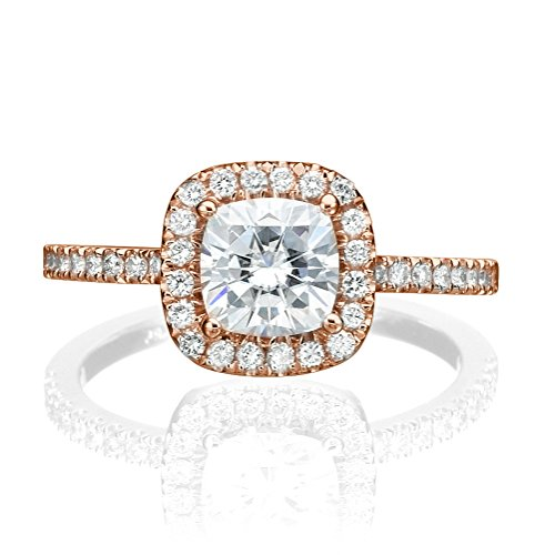 6.00MM Forever One D-F VS Moissanite Ring With Diamonds 0.9 ct, 1.43 ctw dew Cushion Cut 14K Gold