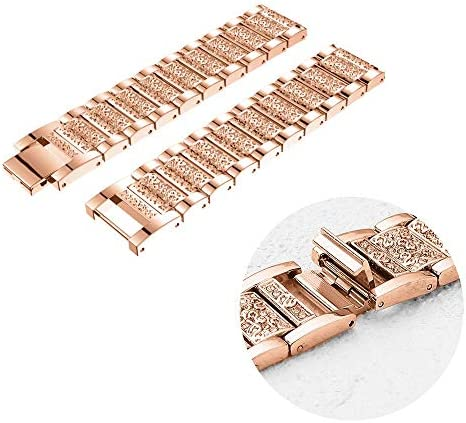 Abanen Compatible with Fossil Q Venture Watch Band,18mm Lightweight Alloy Metal Bling Crystal Quick Release Wristband Strap for Fossil Q Venture Gen4/3,Fossil Women's Sport (Rose Gold) 51xXPrxZzIL