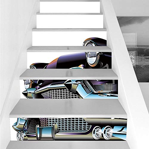 Stair Stickers Wall Stickers,6 PCS Self-Adhesive,Cars,Old Fashioned Automobile Old Timer Antique American Collectors Vehicle Decorative,Black Pale Blue Orange,Stair Riser Decal for Living Room, Hall,]()
