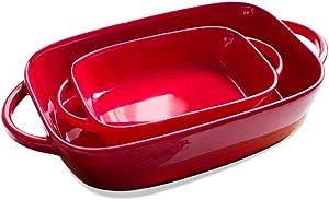 "Set of 2 Ceramic Glaze Baking Dish Set for Oven Roasting Lasagna Pan Large and Small Bakeware Set with Handle Rectangular Dish, 13.3"", 8.6"""