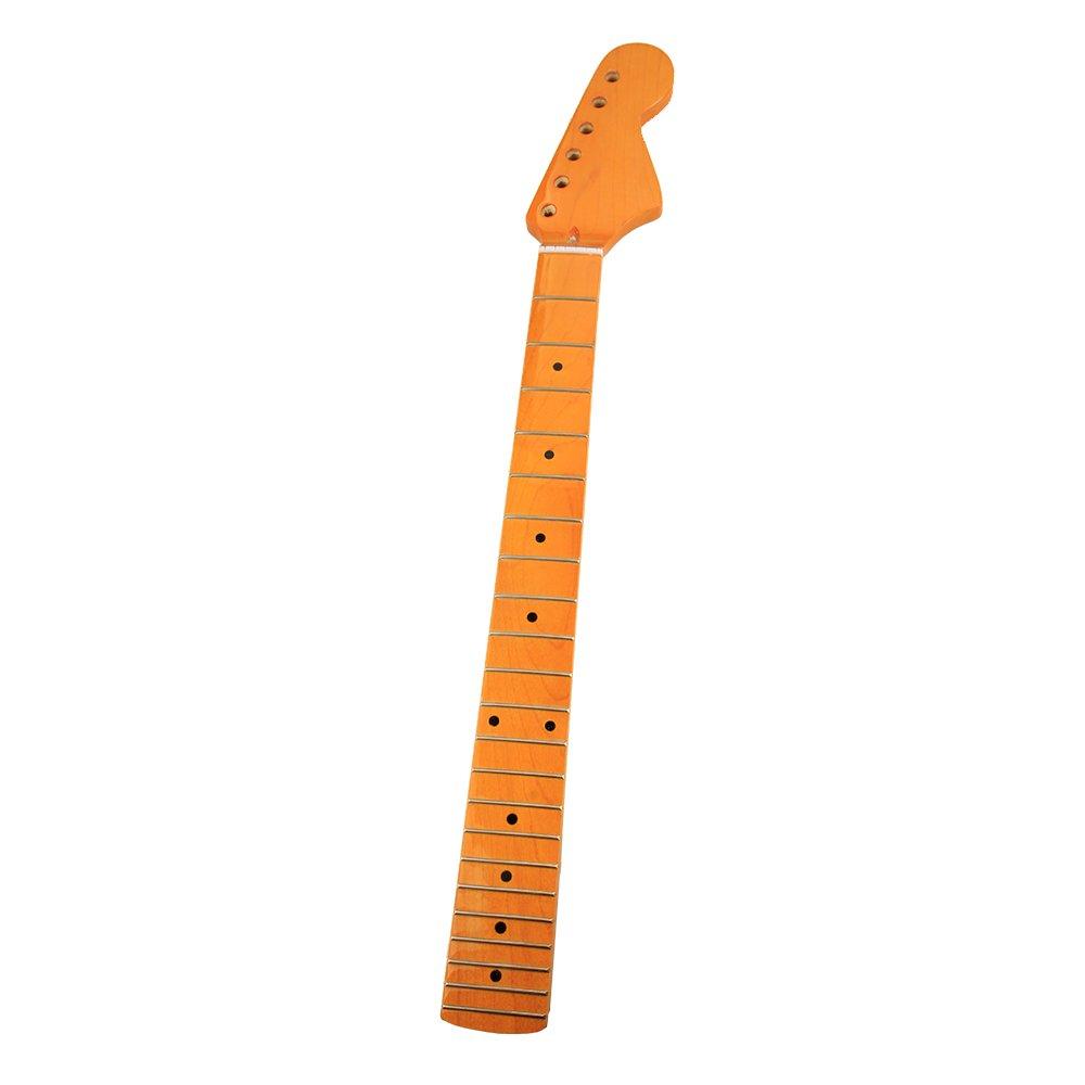 Amarillo 22 trastes, Guitarra Clásica arce Cuello Diapasón Negro Lunares para Fender Strat ST Stratocaster guitarra repuesto: Amazon.es: Instrumentos ...
