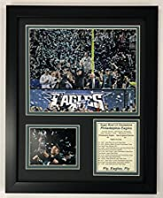 """Philadelphia Eagles Super Bowl 52 NFL Champions Collectible   Framed Photo Collage Wall Art Decor - 12""""x1"""