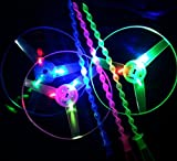 Children Toy Kids Gift Flying Saucer Toy 4 pcs LED Frisbee Light Up Twisty Flying UFO Helicopter Toys Manual Spin Toy Boomerangs for Outdoor/Holiday/Picnic/Travel/Leisure/Sport(Green&yellow&blue&red)