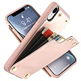 LAMEEKU Wallet Case for Apple iPhone XR, 6.1-Inch, Shockproof Leather Credit Card Holder Slot Money Pocket Cases, Protective Bumper Phone Cover Compatible with iPhone XR 6.1'' (2018) Rose Gold