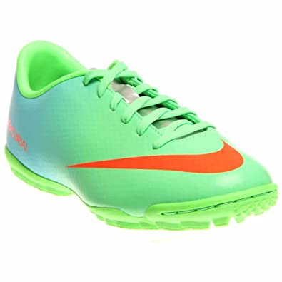 ccae80cda4e Nike Kids Jr Mercurial Victory IV Turf Soccer Shoe Neo Lime Metallic Silver  Polarized