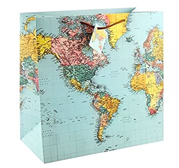 World Map Gift Bags.Large Gift Bag World Map 33 Cm Amazon Co Uk Office Products