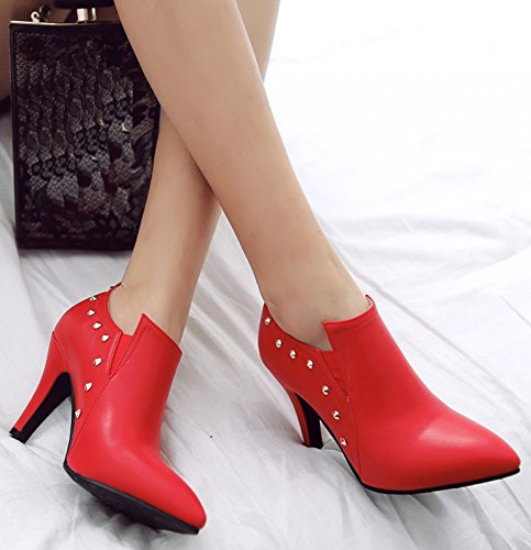 IDIFU Womens Sexy Studded Pointed Toe Stiletto High Heels Low Top Slip On Short Boots Booties Red toBn6