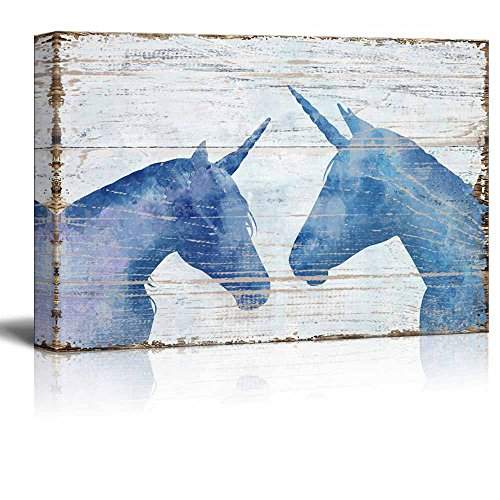Vintage Style Blue Unicorn on Wooden Background