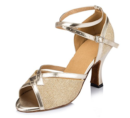 Salsa Ballroom 5 TDA PU 2 Latin Heel Gold inch Tango Leather Party Dance Sandals Womens Glitter CM1014 PxqwtTxz