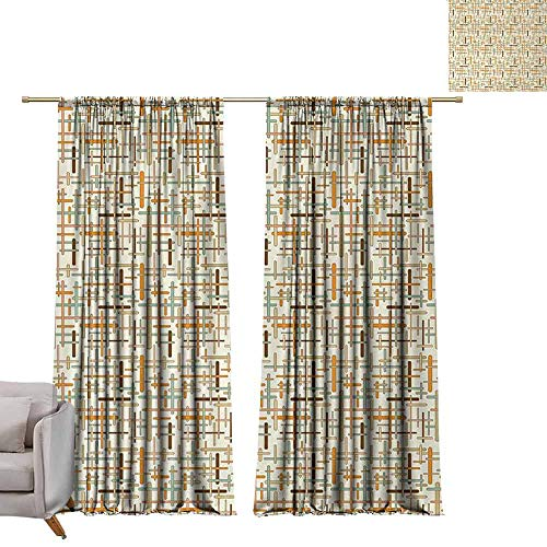 (berrly Drapes Abstract,Vertical Horizontal Crossed Rounded Lines Geometric Colorful Pattern,Orange Pale Blue Brown W72 x L84 Drapes for Living Room)