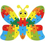 Fishinnen Colorful Wooden Animal Number and Alphabet Jigsaw Puzzle Educational Toy for Kids(Butterfly)