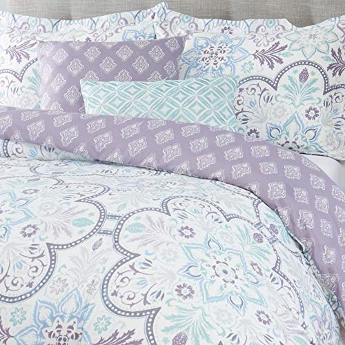 Home Dynamix Nicole Miller Blossom Plush Microfiber & Embroidery King 5 Piece Comforter Set, Blue/Purple Floral