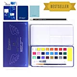 TTMOW Watercolor Paint Set 24 Colors with Watercolor Brush Pen,Pencil,Brush,Gift Travel Case for Beginners & Artists