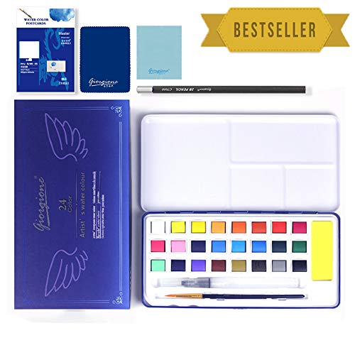 TTMOW Watercolor Paint Set 24 Colors with Watercolor Brush Pen,Pencil,Brush,Gift Travel Case for Beginners & Artists by TTMOW