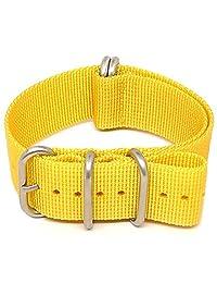 DaLuca Ballistic Nylon NATO Watch Strap - Yellow (Matte Buckle) : 18mm