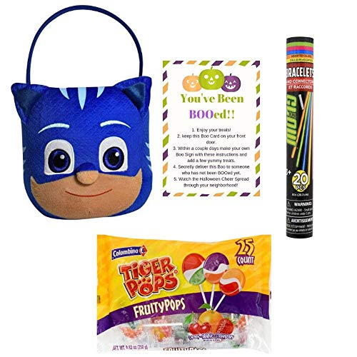 PJ Mask Catboy Plush Jumbo Basket for Halloween Trick or Treat Accessory for Candy Costume Also Includes 1 Bag of Tiger Swirled Lollipops, Glow Bracelets & Boo Card Activity -