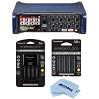 Zoom F8 Multi Track Field Recorder for Filmmaking and Sound Design - Bundle With Panasonic Charger with 4 Eneloop AA Batteries, 4x Eneloop Pro AA NiMH, Microfiber Cloth