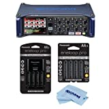 Zoom F8 Multi Track Field Recorder for Filmmaking and Sound Design - Bundle With Panasonic Charger with 4 Eneloop AA Batteries, 4x Eneloop Pro ''AA'' NiMH, Microfiber Cloth